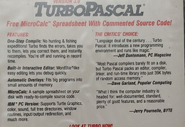 Turbo Pascal for CP/M back cover